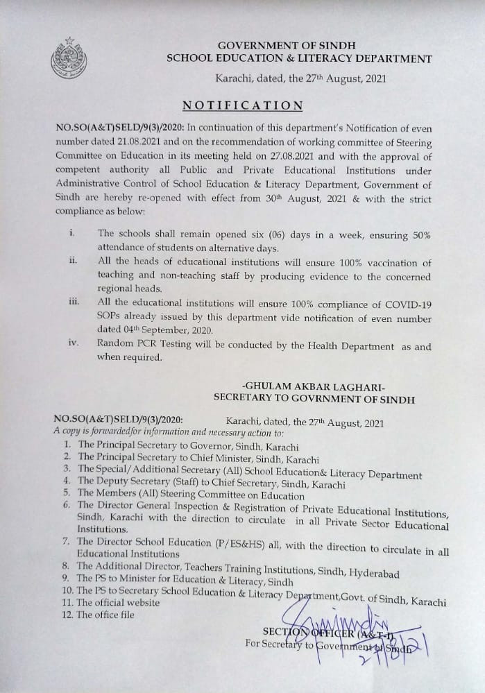 Notification issued by the Government of Sindh's School Education and Literacy Department