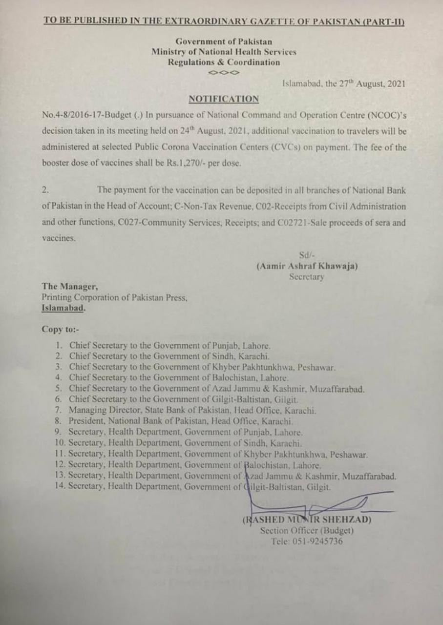 Notification issued by the Government of Pakistan's Ministry of National Health Services. PHOTO: Express