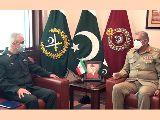 chief of general staff cgs of armed forces of the islamic republic of iran major general mohammad bagheri meets coas gen qamar at ghq screengrab