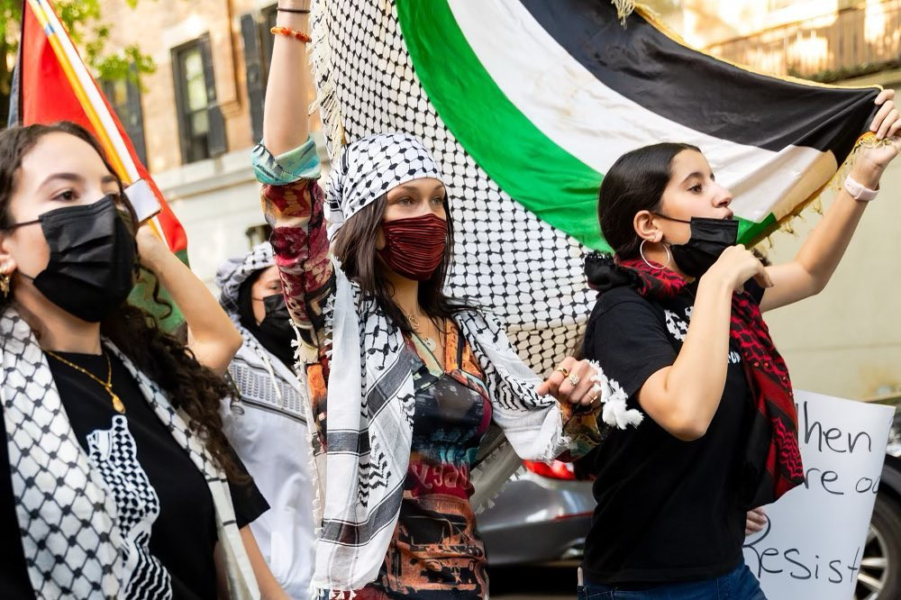 Bella Hadid joins pro-Palestine protest in NYC