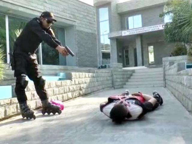 cops adorn roller skates to curb street crime in karachi