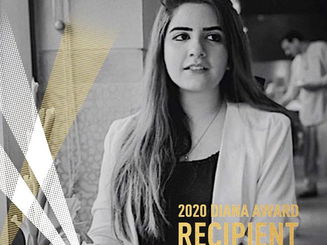 Raina, an 18-year-old girl from Lahore, has been awarded for her efforts in female empowerment, health, education, and social entrepreneurship. PHOTO: DIANA AWARD