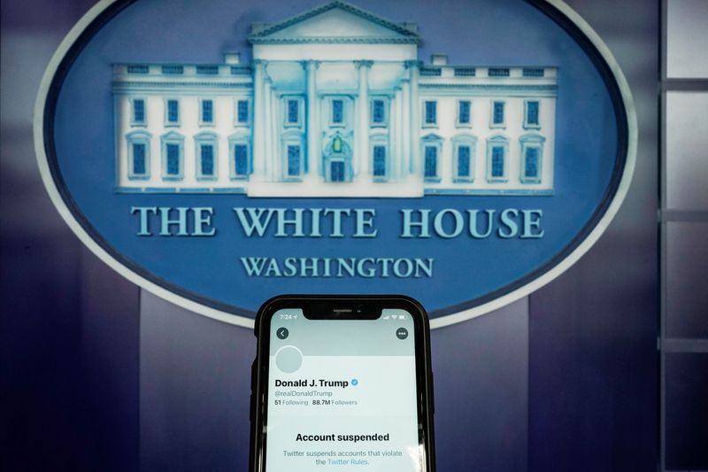 a photo illustration shows the suspended twitter account of u s president donald trump on a smartphone at the white house briefing room in washington u s january 8 2021 reuters