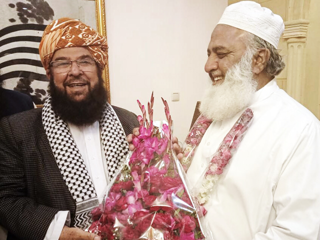 maulana fazlur rehman congratulates abdul ghafoor haideri for being nominated by pdm for election of senate s deputy chairman slot photo jui f