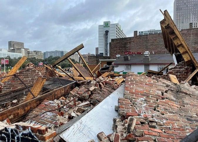 The Karofsky shop suffers severe damage after Hurricane Ida pummeled New Orleans with strong winds in Louisiana, U.S., August 30, 2021. REUTERS/Devika Krishna Kumar