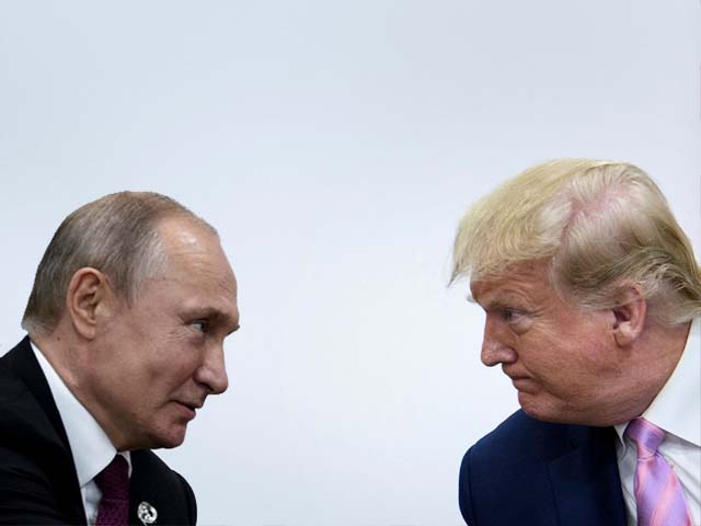 Donald Trump attends a meeting with Vladimir Putin during the G20 summit. PHOTO: AFP
