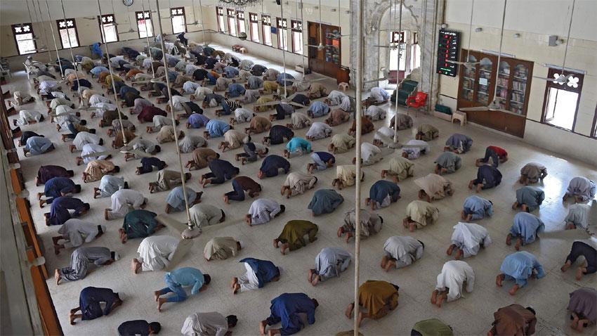 Faithful offer Eid prayers. Photo: Radio Pakistan