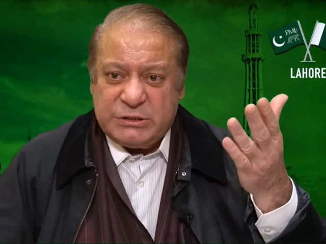 nawaz sharif addresses pdm rally in lahore via video link screengrab