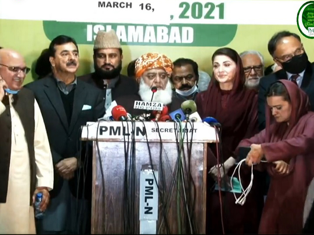 pdm president maulana fazlur rehman addressing a press conference along with pml n s maryam nawaz and ppp s yousuf raza gilani in islamabad screengrab