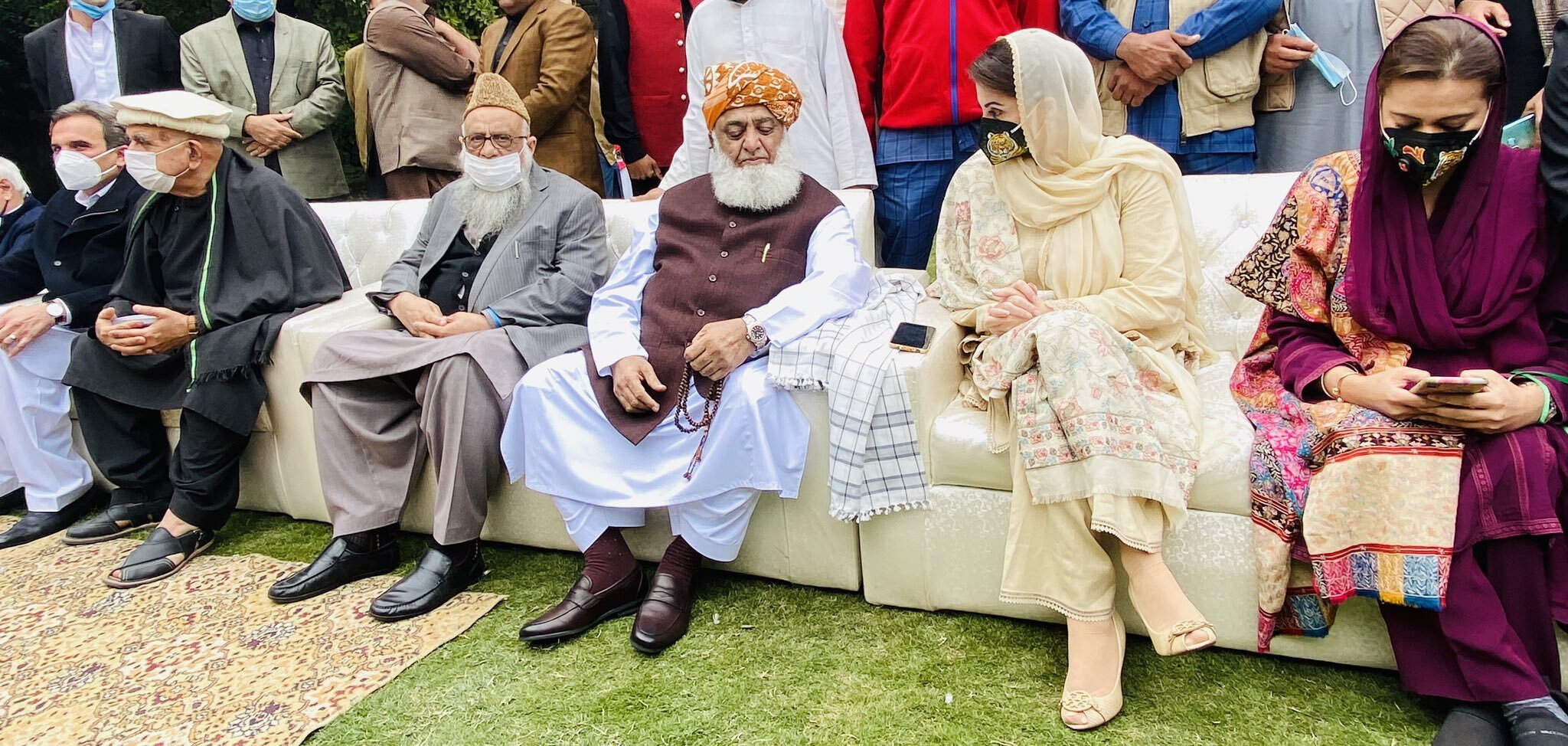 maulana fazlur rehman maryam nawaz among other central leaders of pdm at the bilour house in peshawar photo express