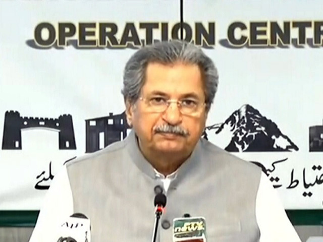 education minister shafqat mahmood addressing a presser following the meeting of the ncoc in islamabad on april 6 2021 screengrab