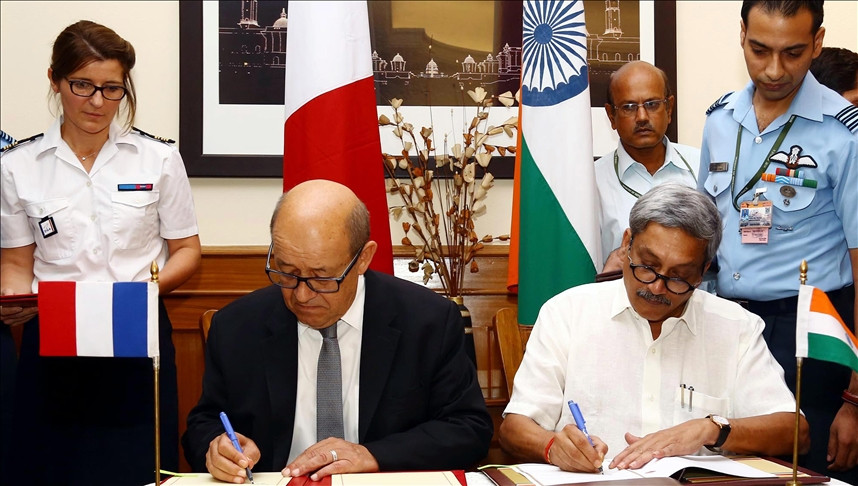 french defence minister jean yves le drian l and indian defence minister manohar parrikar r sign an agreement in new delhi india on september 23 2016 india signed a formal agreement to buy 36 rafale fighter jets from france s dassault for a reported 7 9 billion euros 8 8 billion dollars one of its biggest defense deals in decades anadolu agency